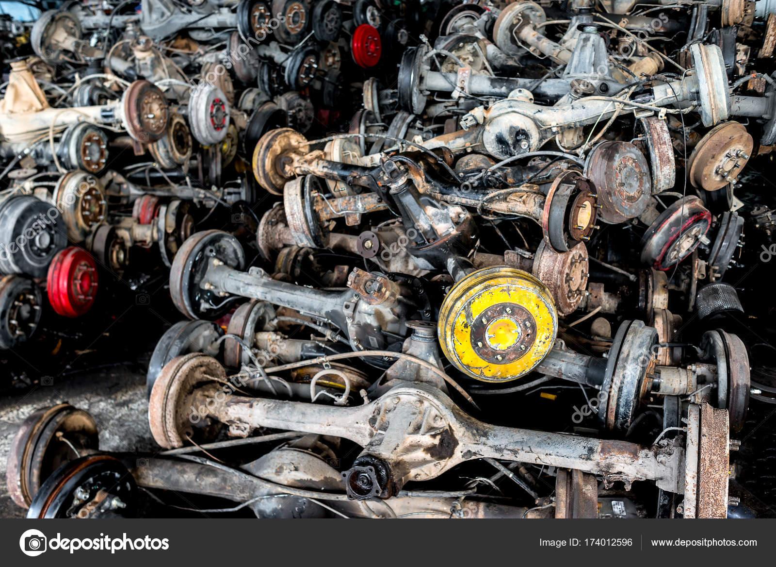 Used Old Car Wheel Axle Recycle Garage Sale Photo Indoor — Stock ...