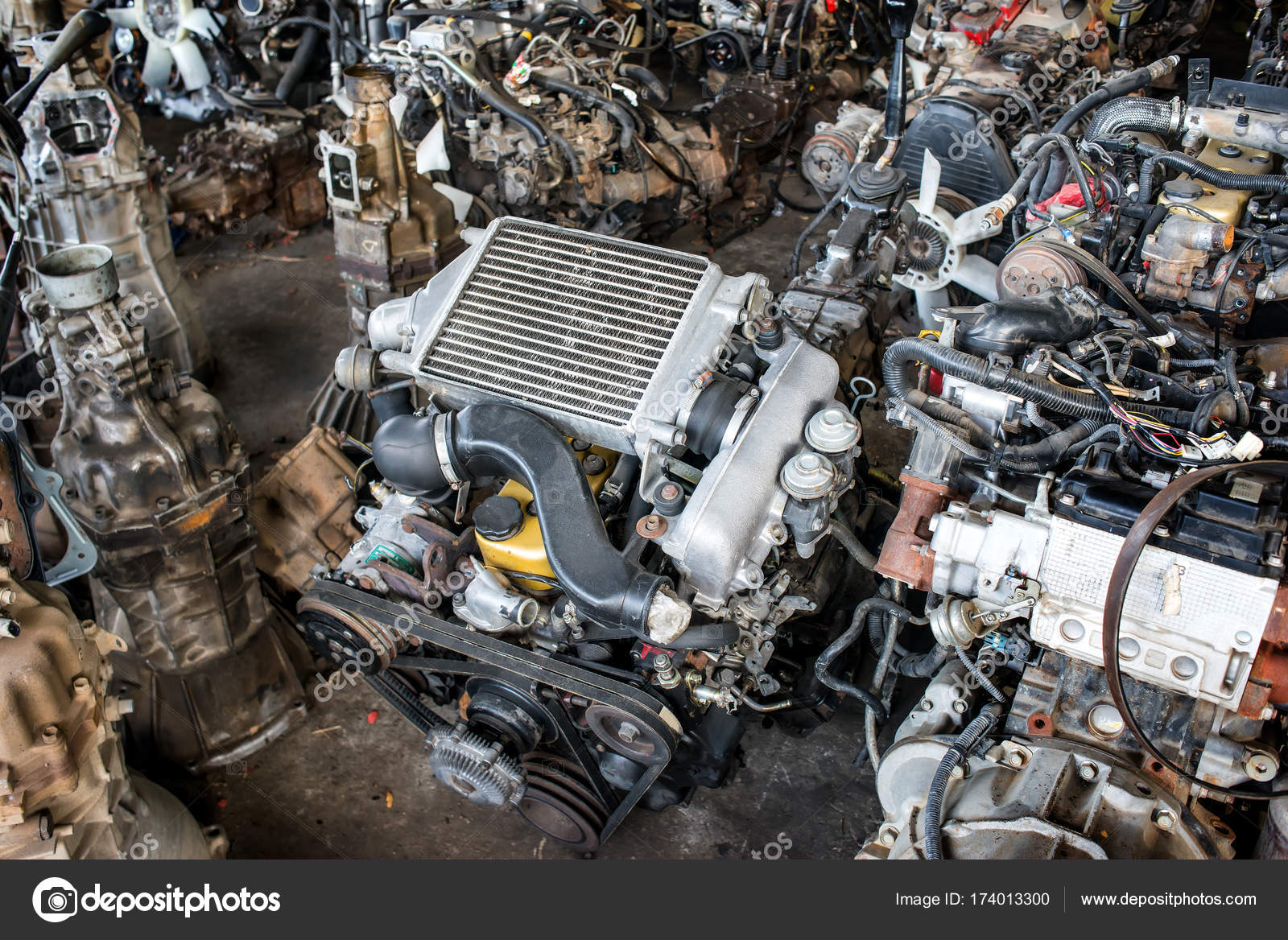 Used Old Car Engine Recycle Garage Sale Photo Indoor Low — Stock ...