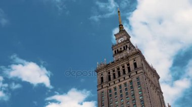 Palace of Culture and Science in Warsaw 15 july 2017. The clouds floating over the skyscrapers Palace of Culture and Science in Warsaw