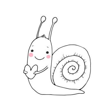 Cute cartoon snail with heart.