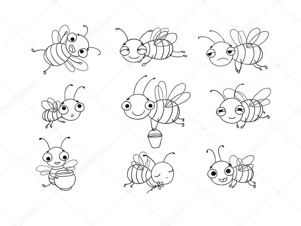 Con las abejas cute dibujos animados — Archivo Imágenes Vectoriales ...