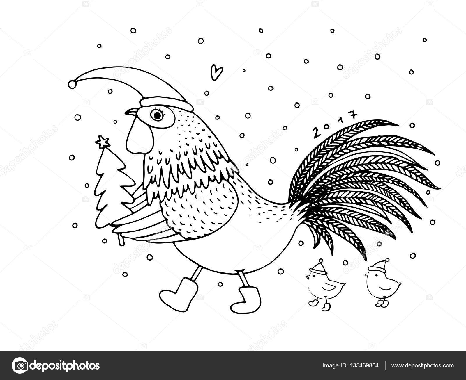 Cartoon rooster cute, little chickens and Christmas tree. — Stock ...