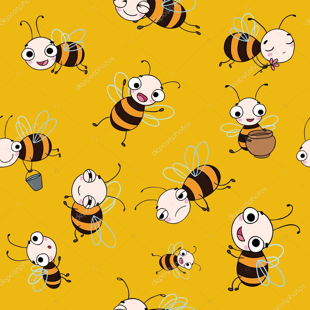 Seamless vector pattern with cute cartoon bees.