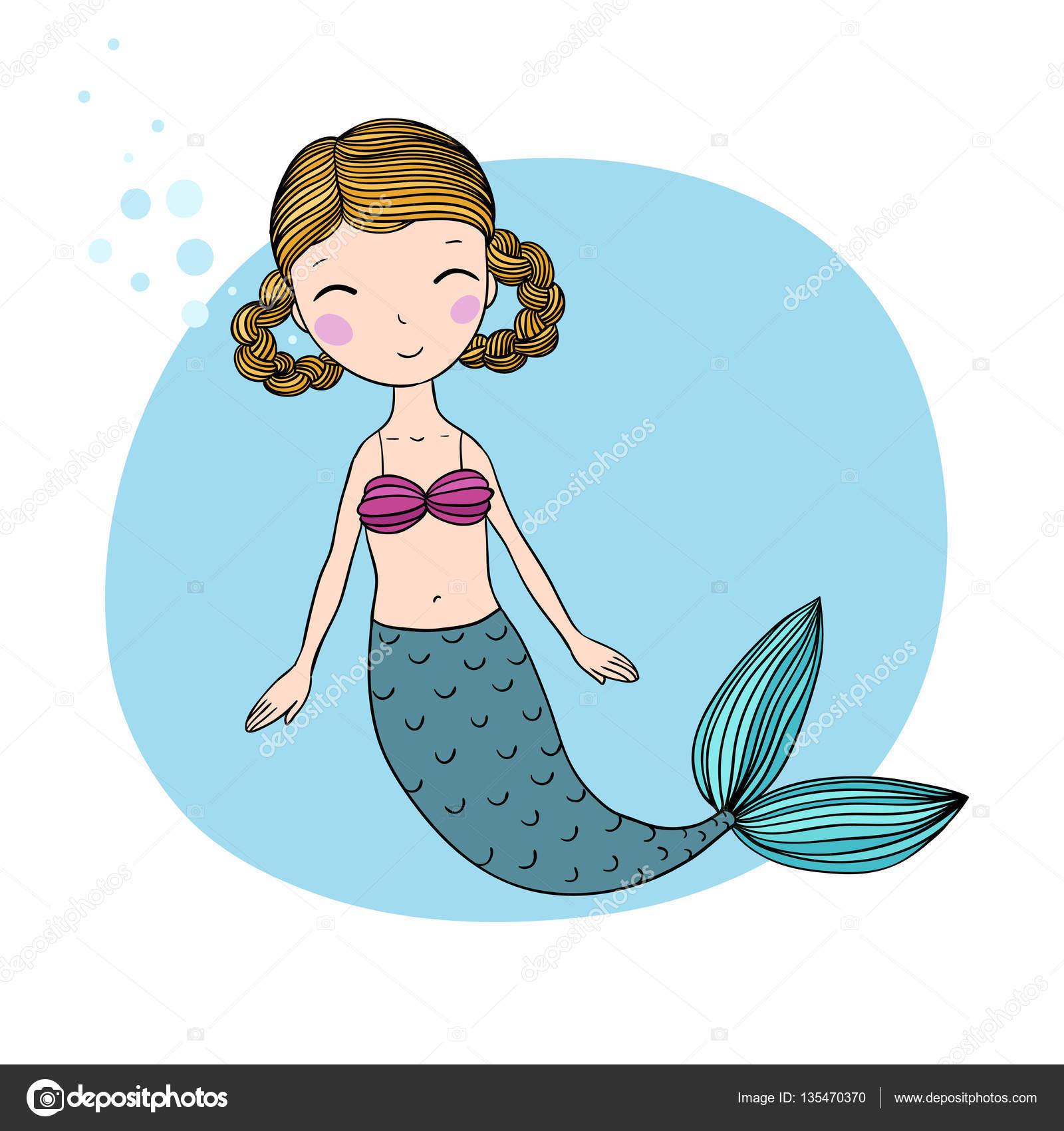 Schöne kleine Meerjungfrau. Sirene. Meer-Thema — Stockvektor ...