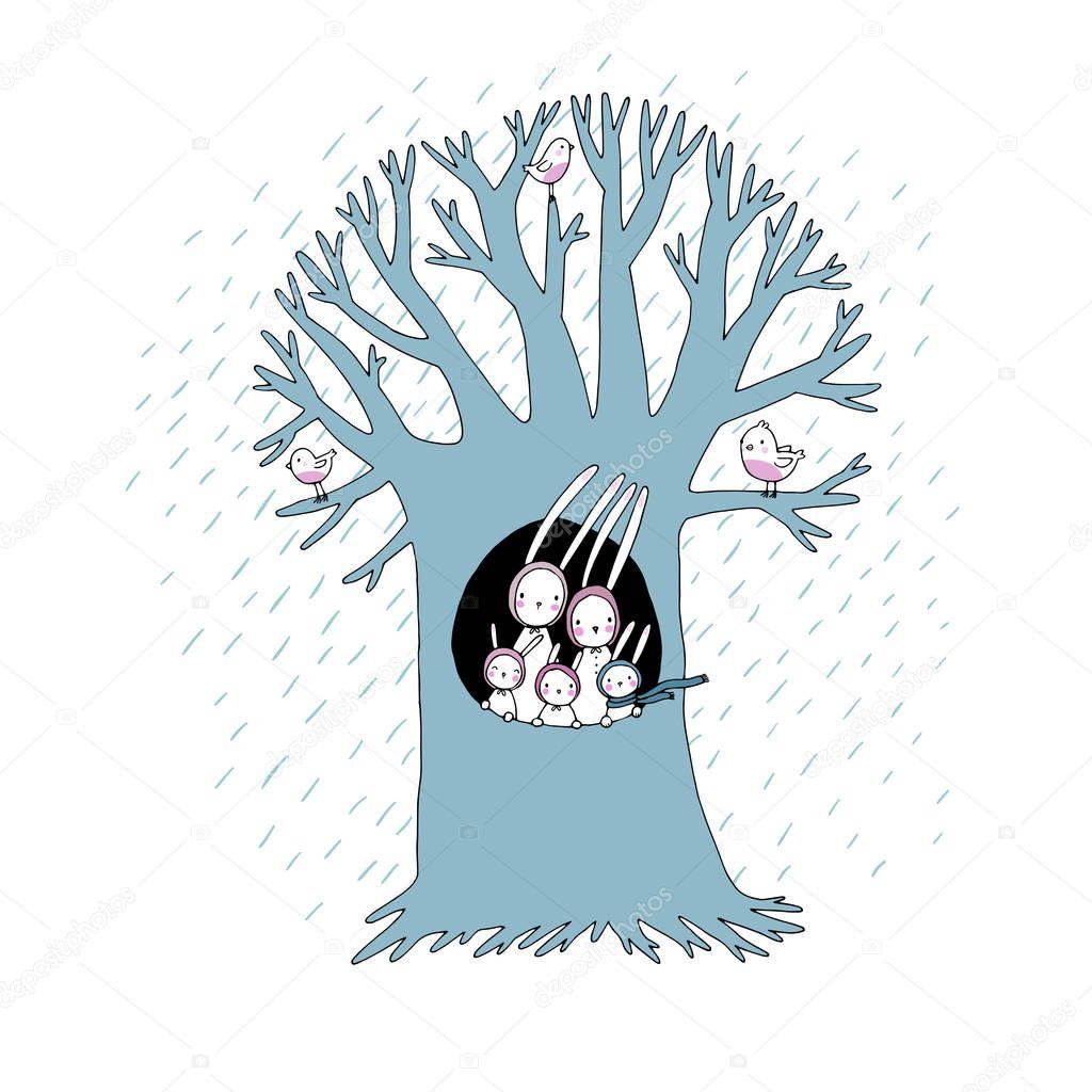 Magic Tree and cute rabbits. Vector illustration.