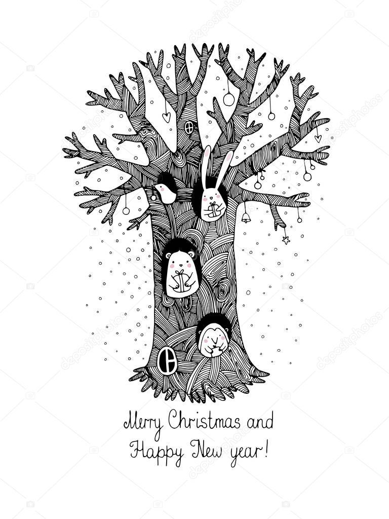 Magic tree, animals and gifts.