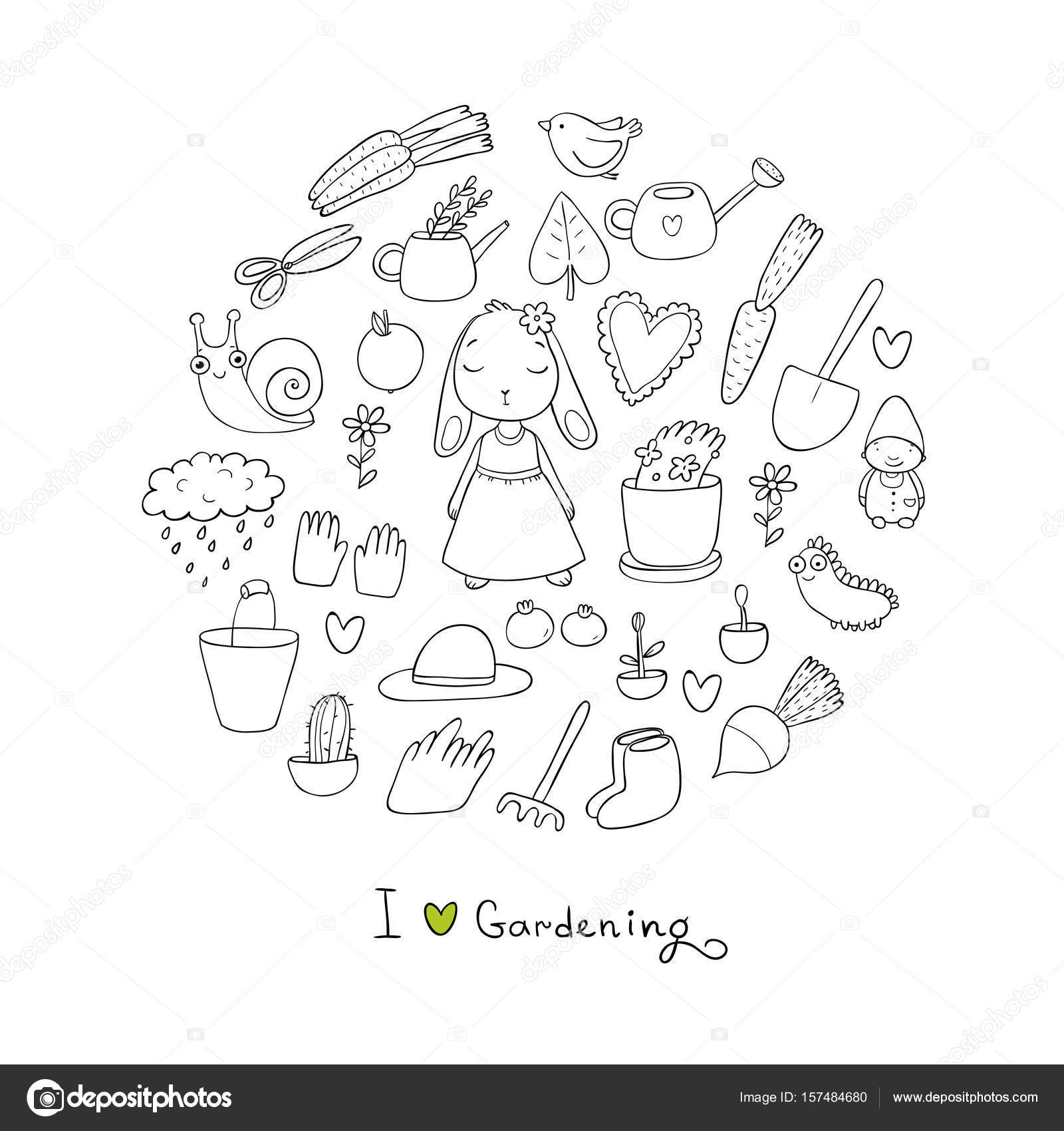 Cute Cartoon Rabbit Girl And Set Of Garden Objects. Plants, Pots And Tools  For Gardening. Vegetables And Insects U2014 Vector By Natasha_Chetkova