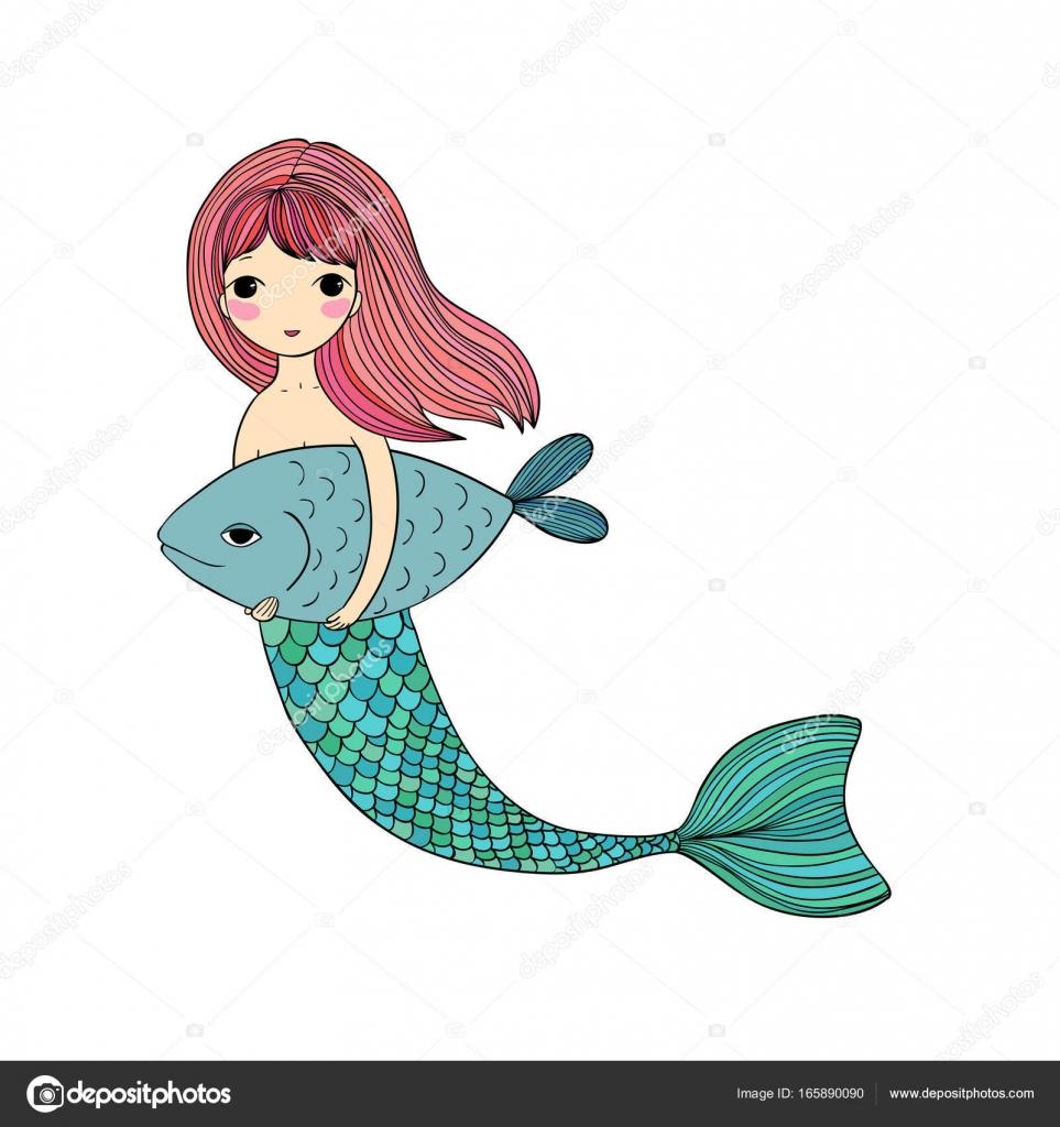 Niedlichen Cartoon Meerjungfrau und Fisch. Sirene. Meer-Thema ...