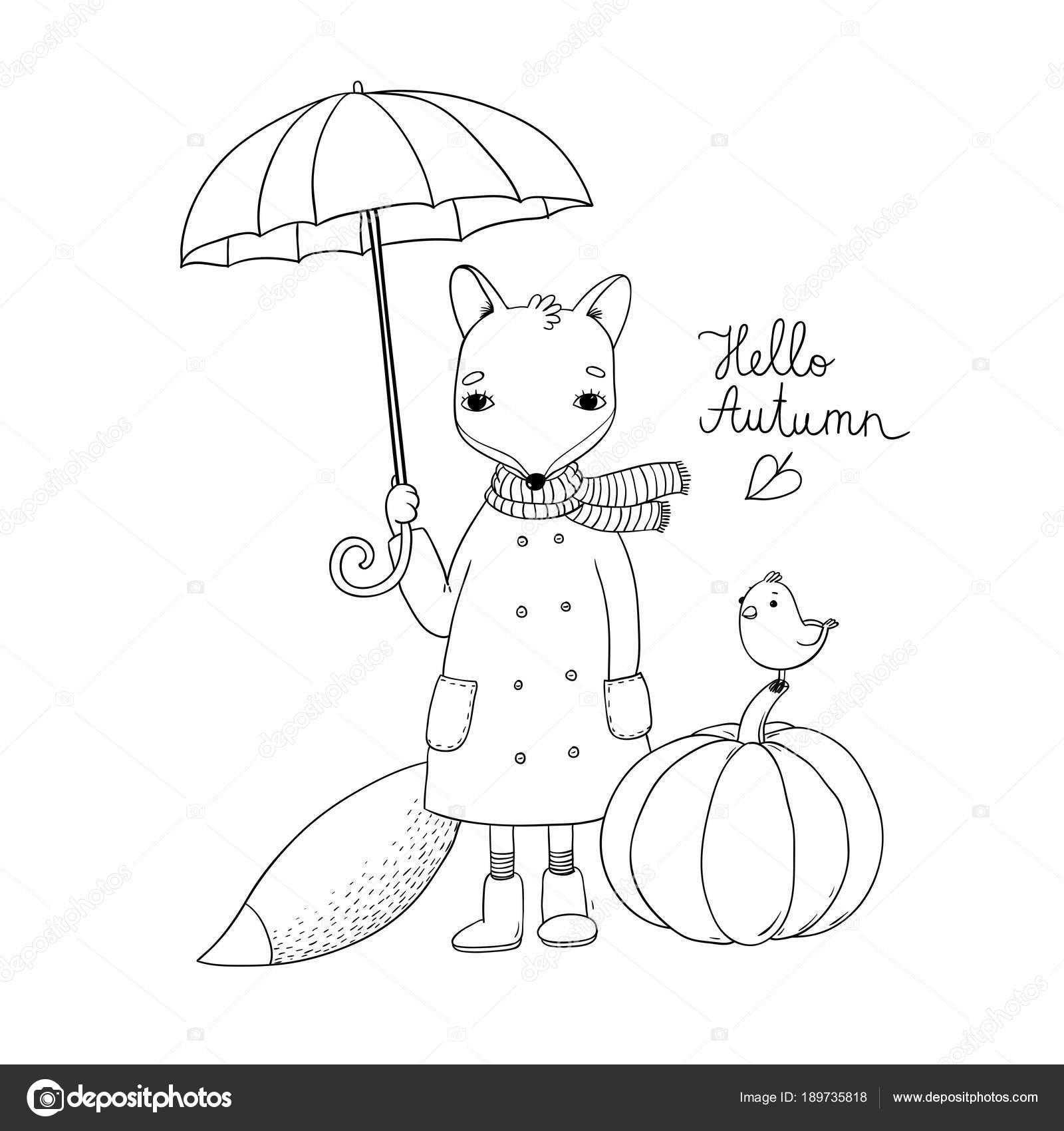 Dessin animé mignon fox sous un parapluie et un petit oiseau sur une citrouille illustration de stock