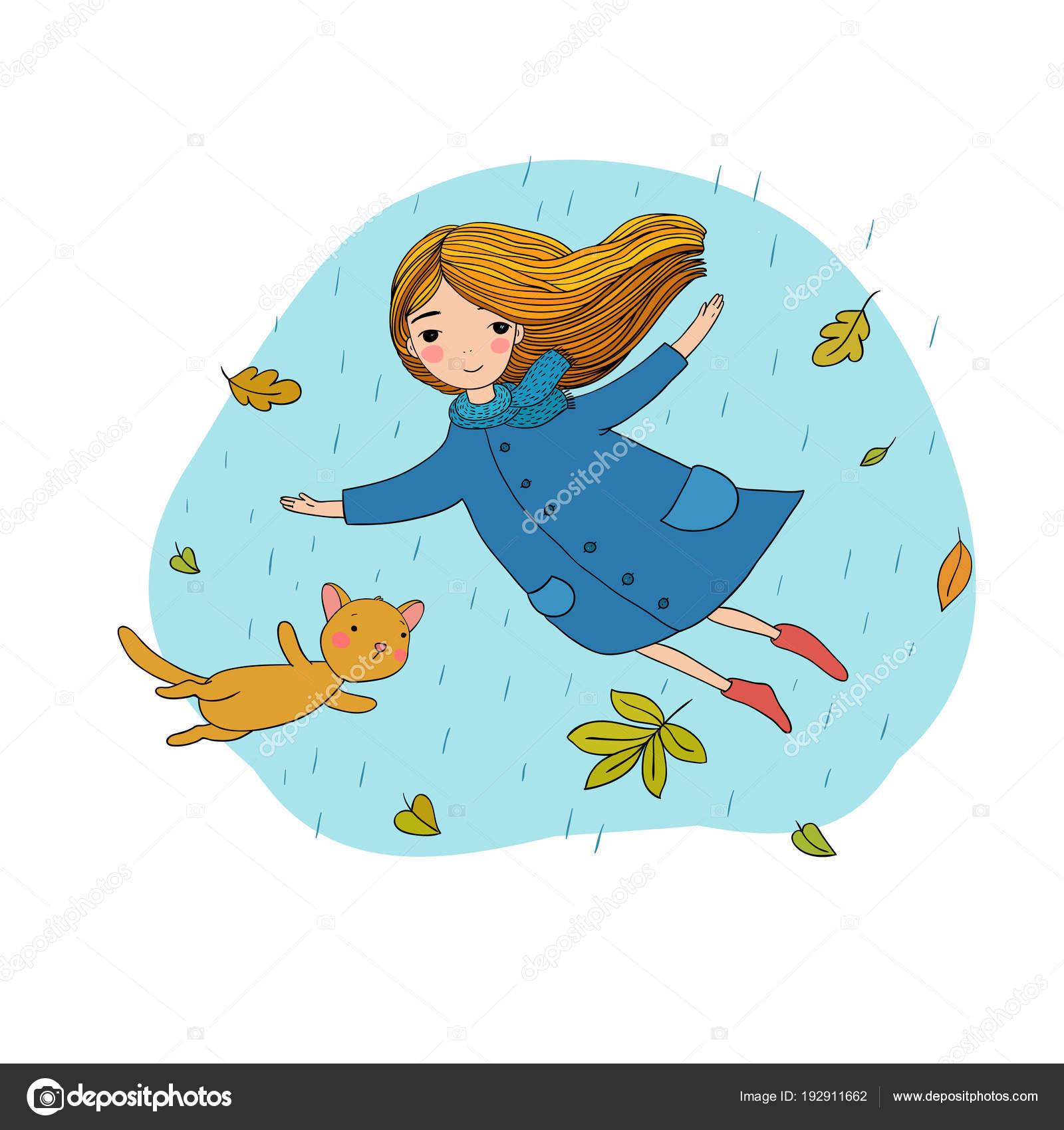 Hermosa niña y un gato de dibujos animados lindo volando con hojas ...