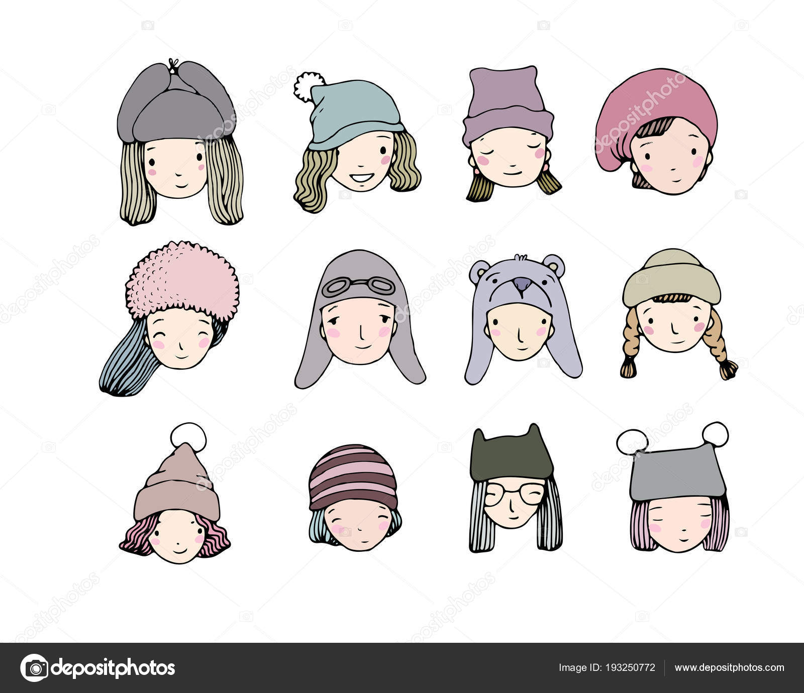 1b6ba3016ce Different faces. People in winter hats. Hand drawing isolated objects on white  background. Vector illustration. — Vector by Natasha Chetkova