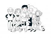 Šťastnou rodinu. Rodiče s dětmi. Roztomilý kreslený táta, máma, dcera, syn a dítě. Babička a dědeček. Vtipná kočka a pes