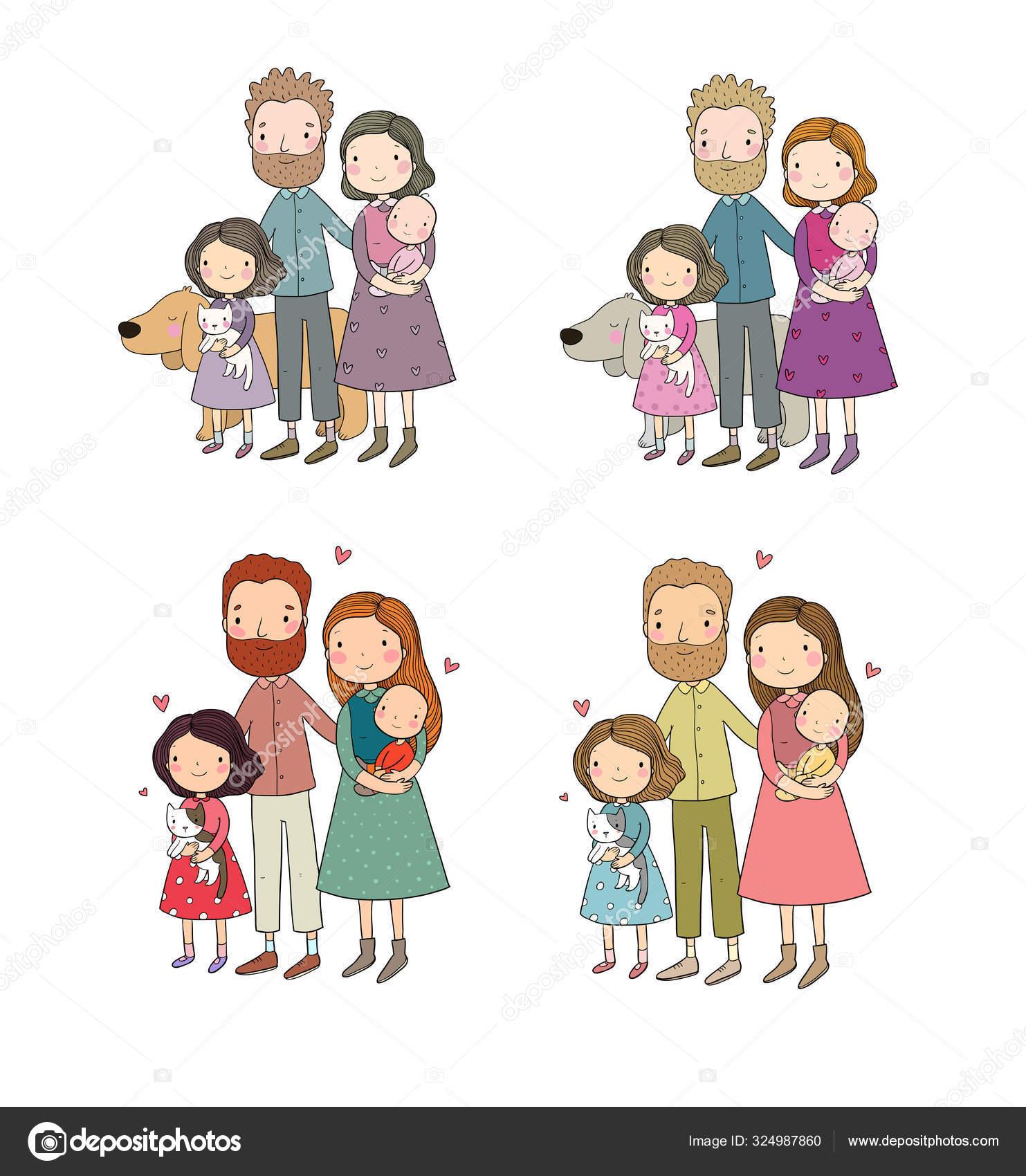 A Happy Family Cute Cartoon Dad Mom Daughter And Baby Funny Cat And Dog Pets Stock Vector C Natasha Chetkova 324987860