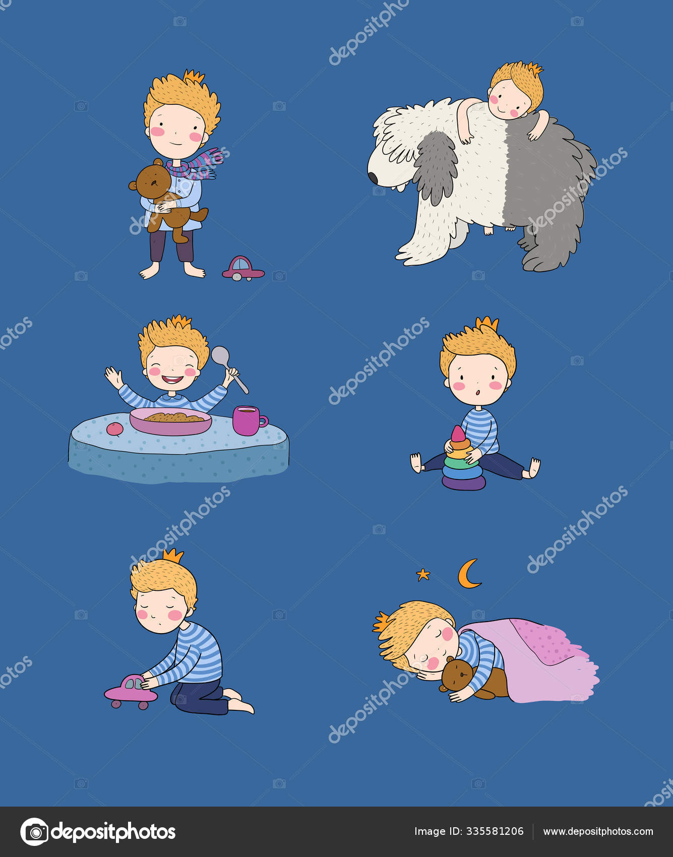 Niedliches Cartoon Baby, das mit Spielzeug und Hund spielt. Netter Junge  isst Haferbrei und schläft. Kleiner Prinz 30