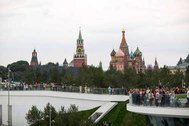 MOSCOW - SEPTEMBER 11, 2017: Opening of Park Zaryadye, central modern park near Red Square, Moscow, Russia. Project of an architectural bureau DILLER SCOFIDIO + RENFRO. View to Kremlin and Saint Basil's Cathedral.