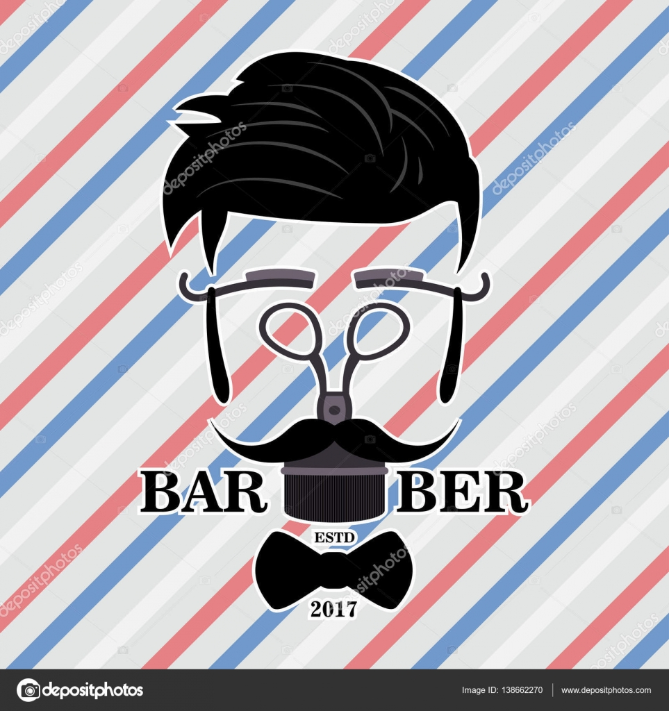 Barber Shop Hipster Silhouette Logo. Coiffure homme avec ...