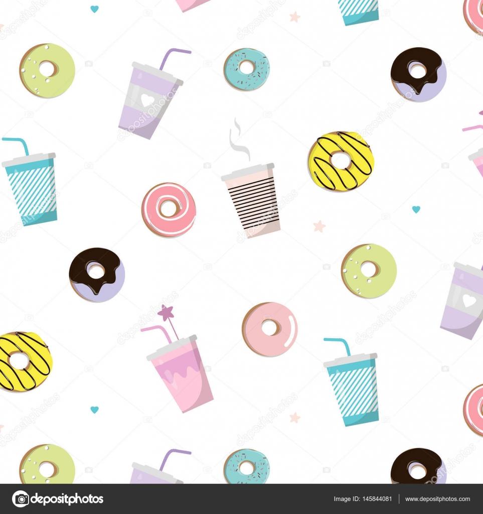 ドーナツおいしいパターンを持つコーヒーベクトル スナック イラスト