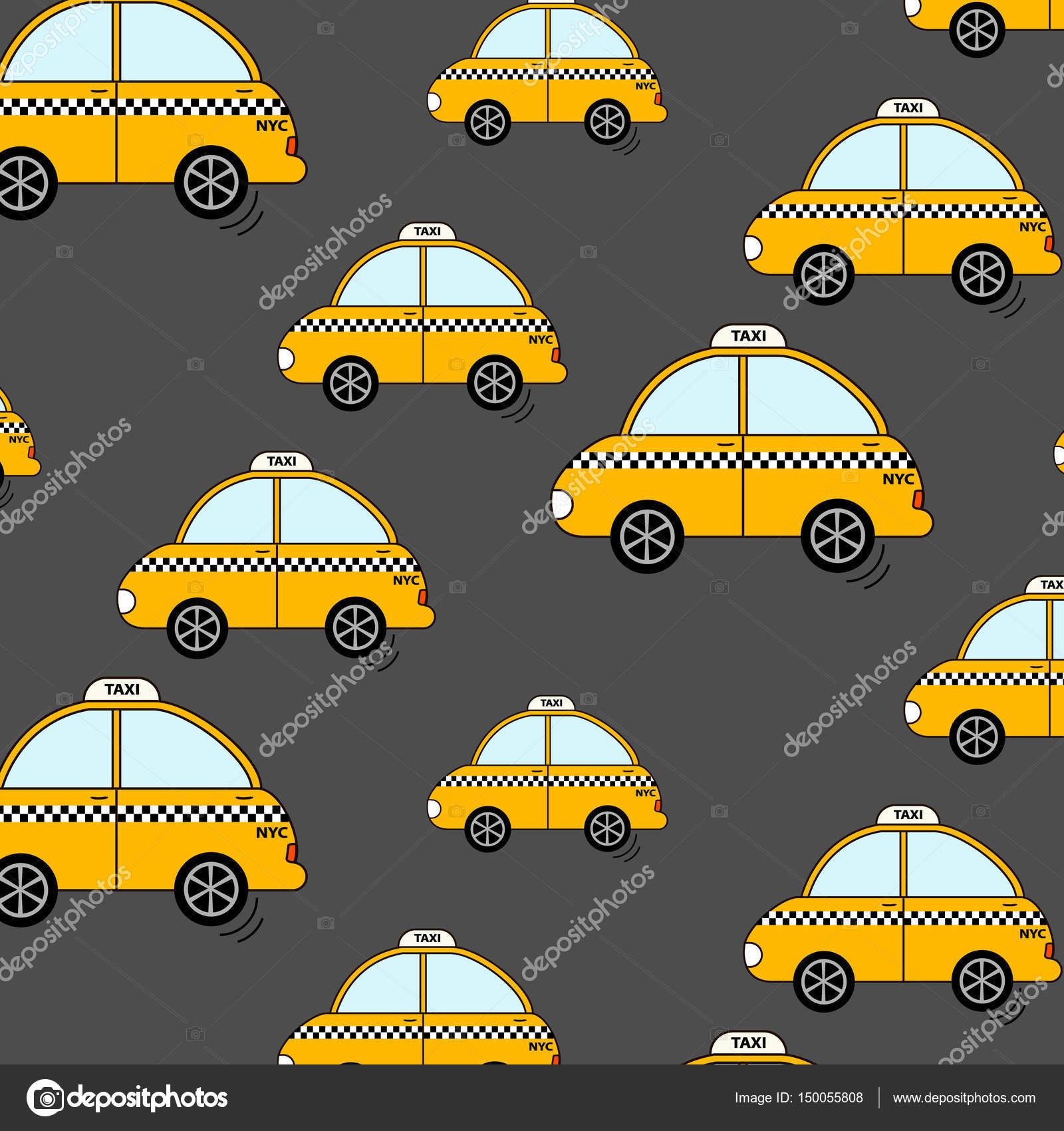 Cartoon Nyc Taxi Muster. Niedlichen gelben Taxi Autos Wallpaper ...