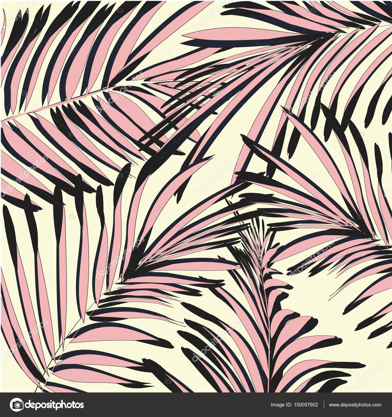Vector Yellow Pink Palm Leaves Beach Exotic Summer Print Tropical Tree Wallpaper Texture