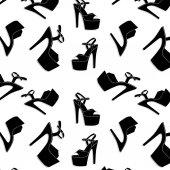 Fotografie Vektor Pole Dance sexy Schuhe. Highheels Muster für Striptease, gestreifte schwarz gelb exotische Tänzerin Stiefel. Silhouette Erwachsene erotische Schuhe print