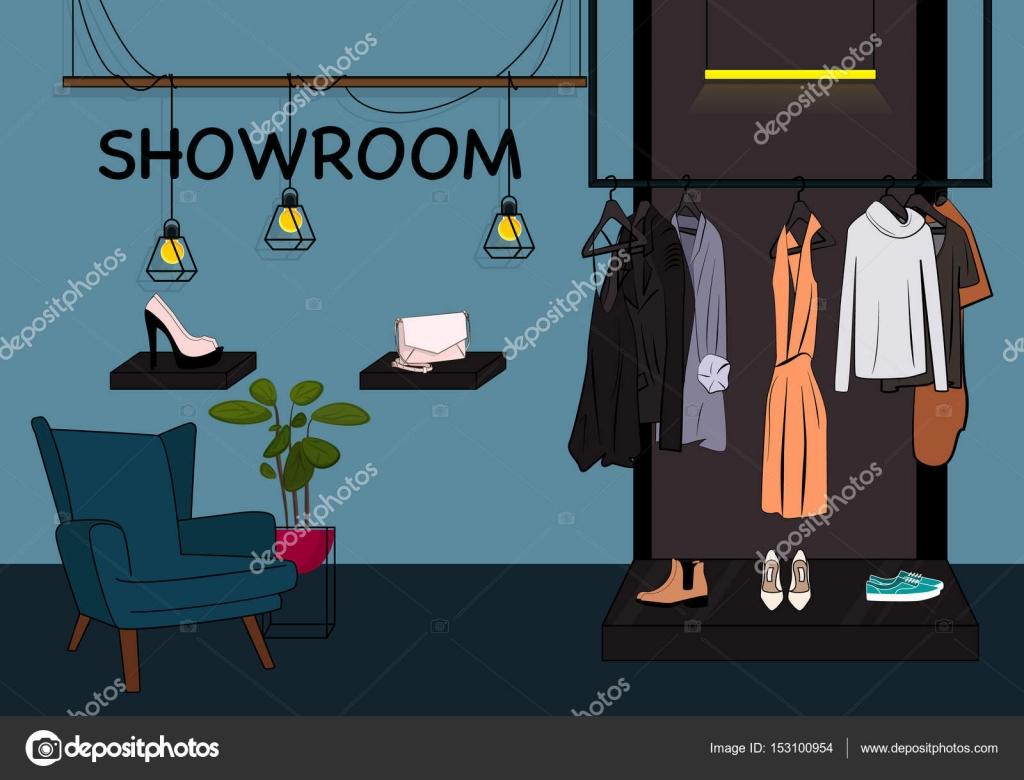 Vektor Giyim Magazasi Cizim Showroom Dolap Aski Vitrin