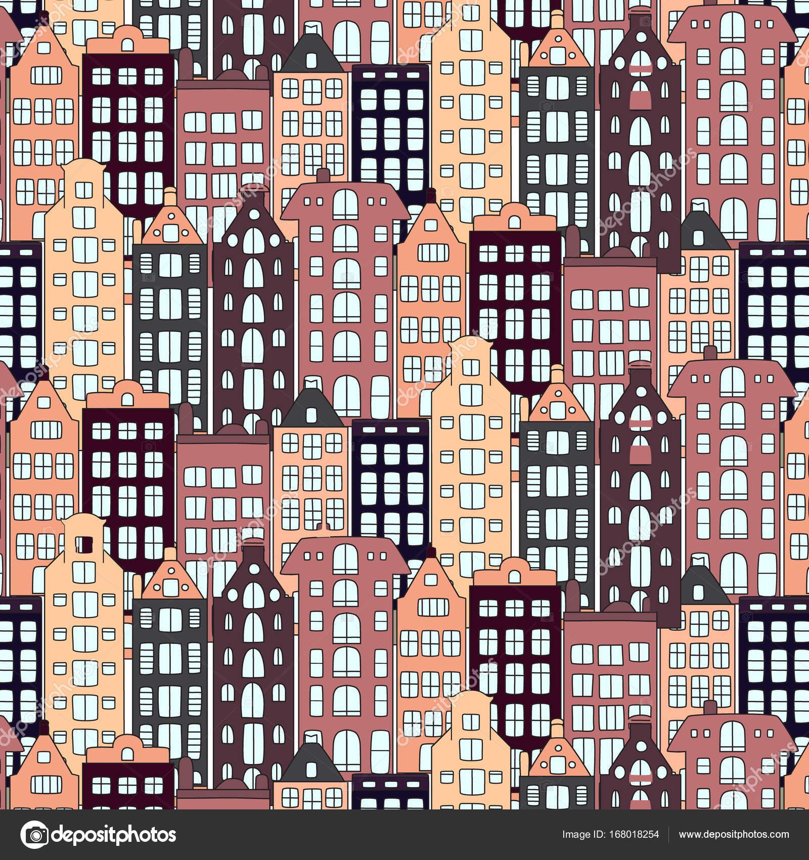Vektor-Europa-Häuser und Gebäude-Illustration. Urbane Musterstil ...
