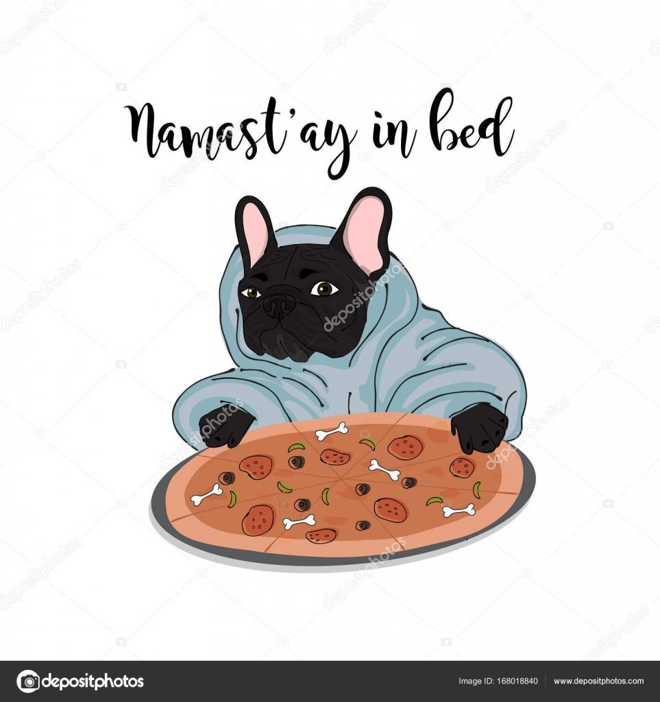 Namastay Dans L Illustration Du Lit Bouledogue Avec Maison De