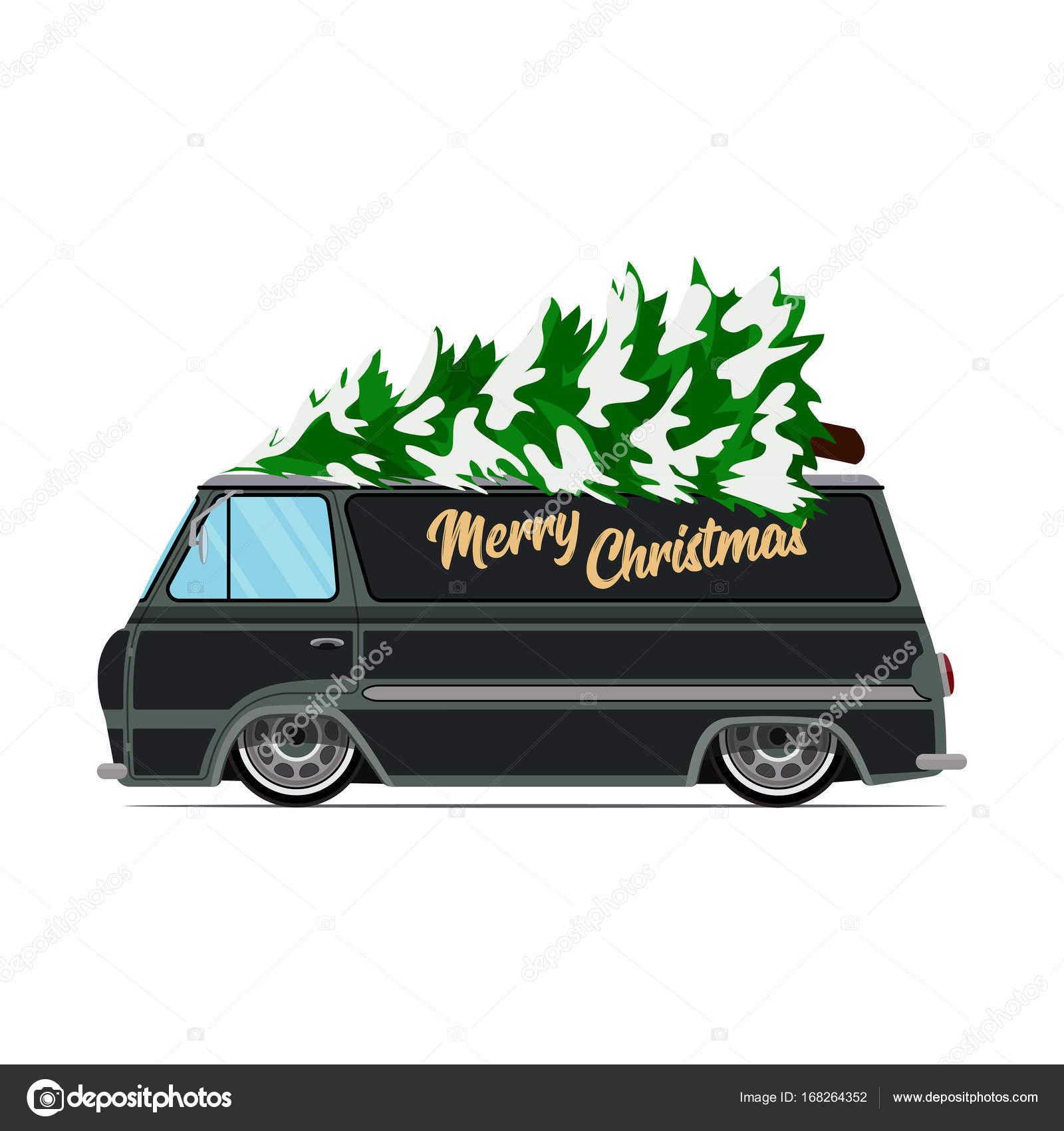 Vintage Groene Auto Met Kerstboom Kerst Foto Groene Vrachtwagen