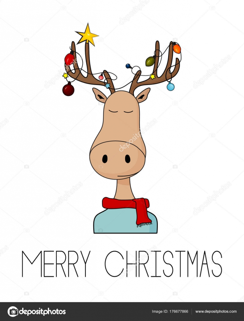 Merry Christmas greeting card with deer and garland lights on horns ...