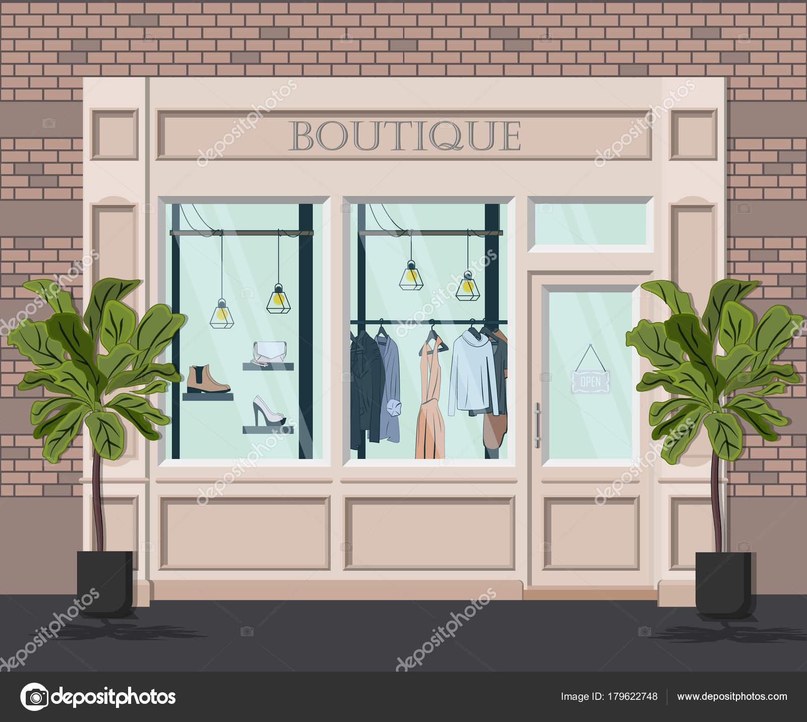 boutique vintage de graphiques vectoriels fa ade illustration d taill e d un magasin de. Black Bedroom Furniture Sets. Home Design Ideas