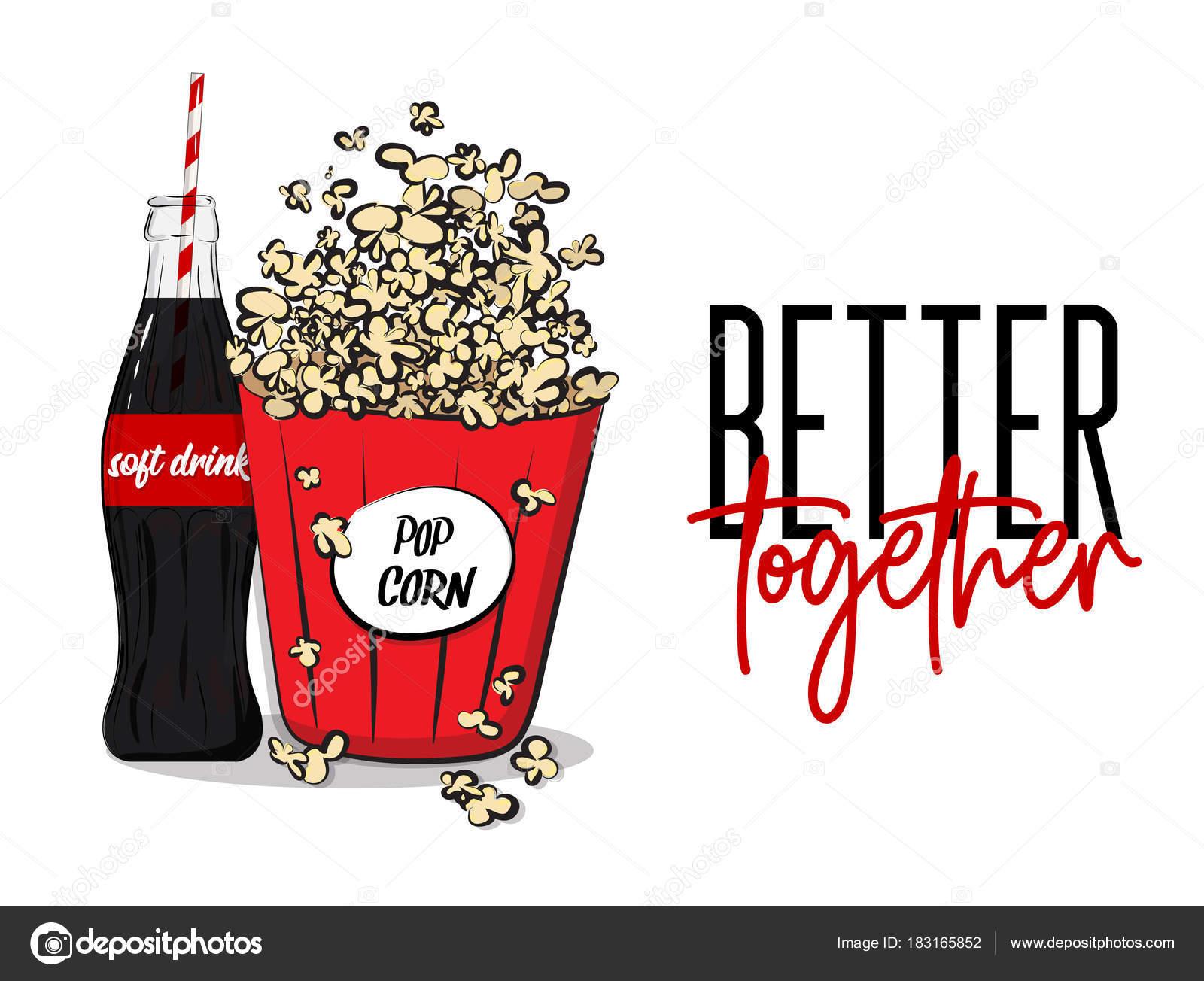 Vektor Popcorn-Box und Softdrink Flasche Konzept. Banner Werbung ...