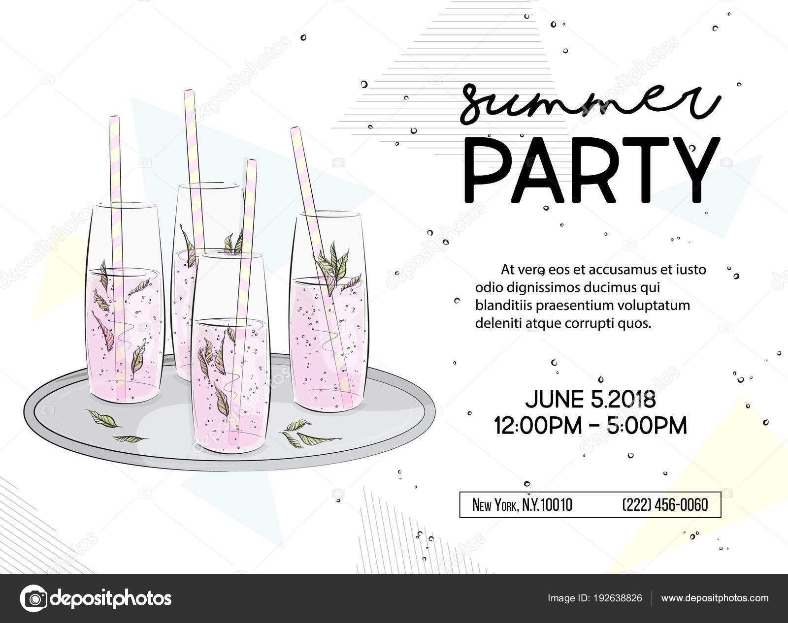 Summer time party invitation alcohol sparkle drinks poster summer time party invitation alcohol sparkle drinks poster vacation graphics greeting card with classes of champagne mint leaves lemonade anniversary stopboris Gallery