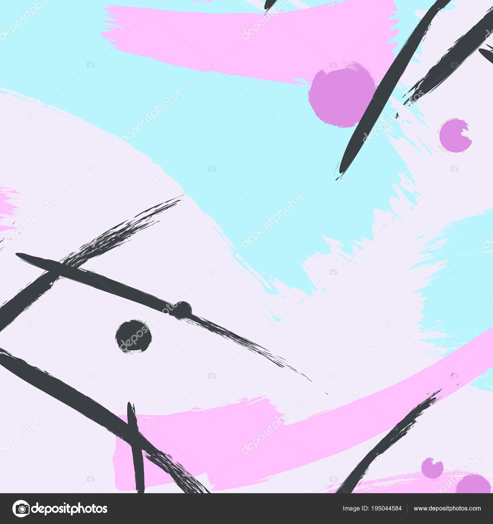 Vektor Dymanic Pinsel Strichmuster. Pastell kreative Zeitgenössische ...