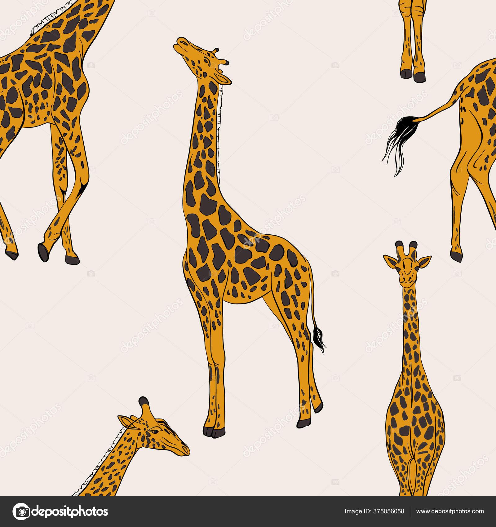Sömlöst Giraffmönster Afrikanskt Djurbarndomstryck