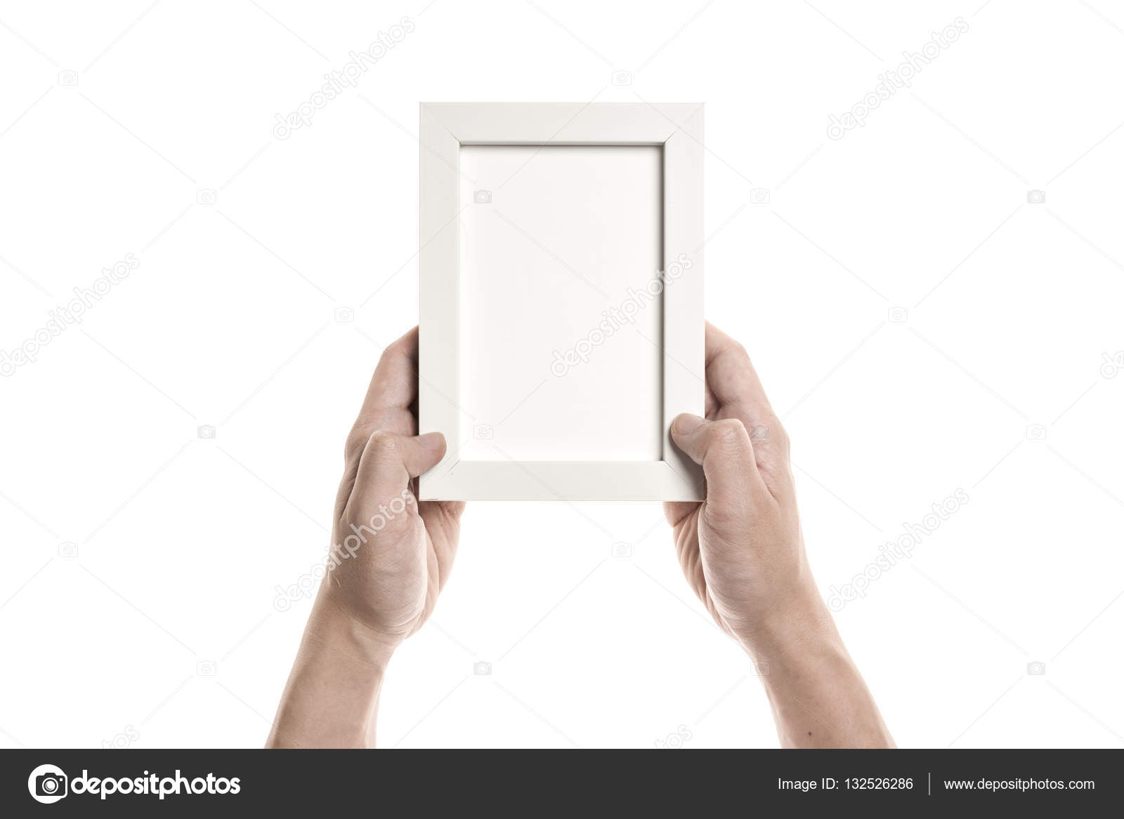 A Man Hand Hold A White Frame Stock Photo Earlyspring 132526286