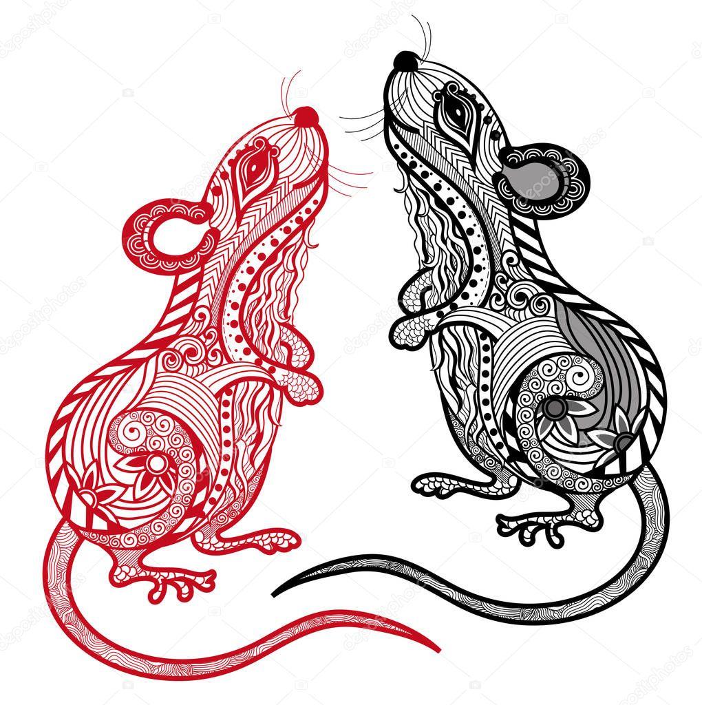 Dessin De Signe Chinois illustration vectorielle de rat. signe du zodiaque et horoscope