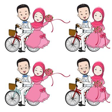 Muslim wedding cartoon, bride and groom riding bicycle with flower bouquet