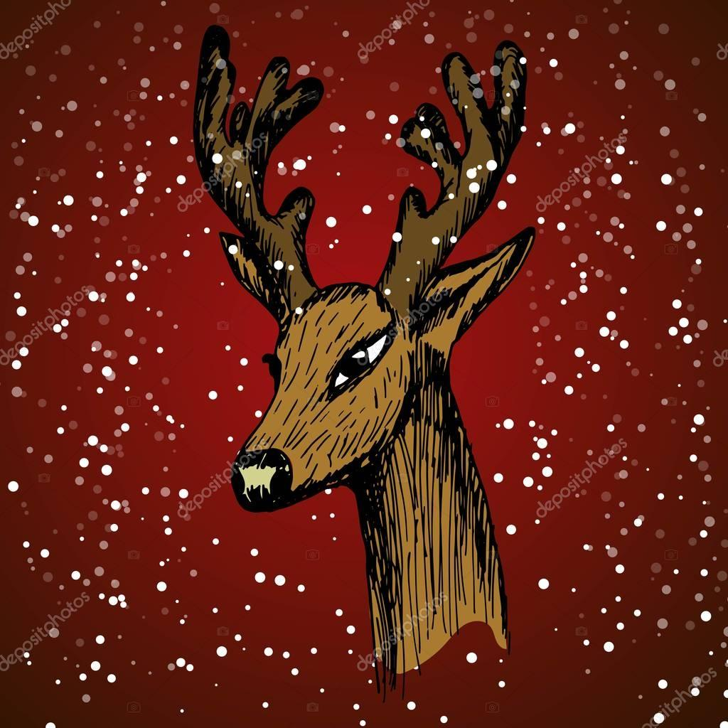 hand-drawn sketch of a deers head in half-turn on a red background with snow and snowflakes imitation. Vector illustration for a website selling hunting billboards wildlife Graphics in the New Year