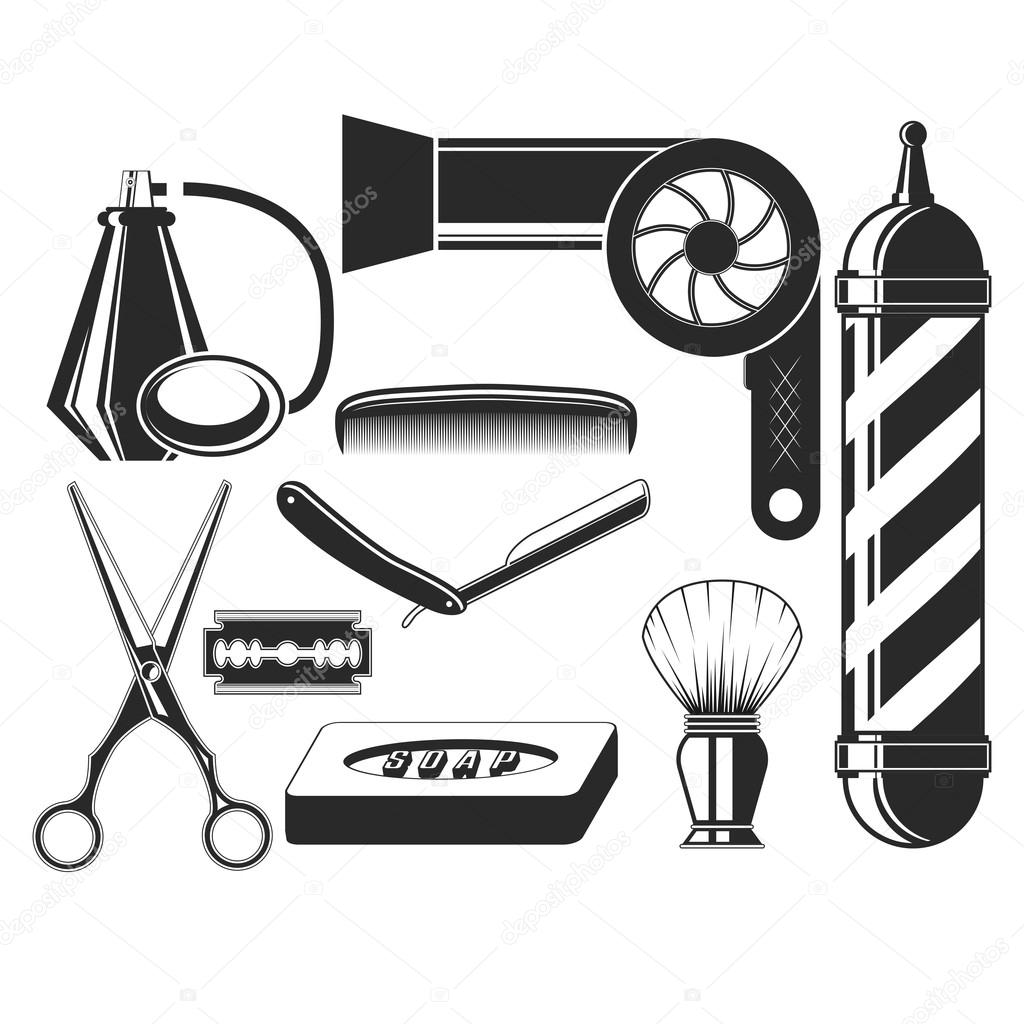 Vector Set Of Hair Salon Elements In Vintage Style Cut Beauty And Barber Shop Scissors Blade Comb Soap Pole Hairdryer