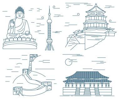 Famous China landmarks thin line. Great Wall, Tian Tan Buddha, Forbidden City , Summer palace, Oriental Pearl Tower
