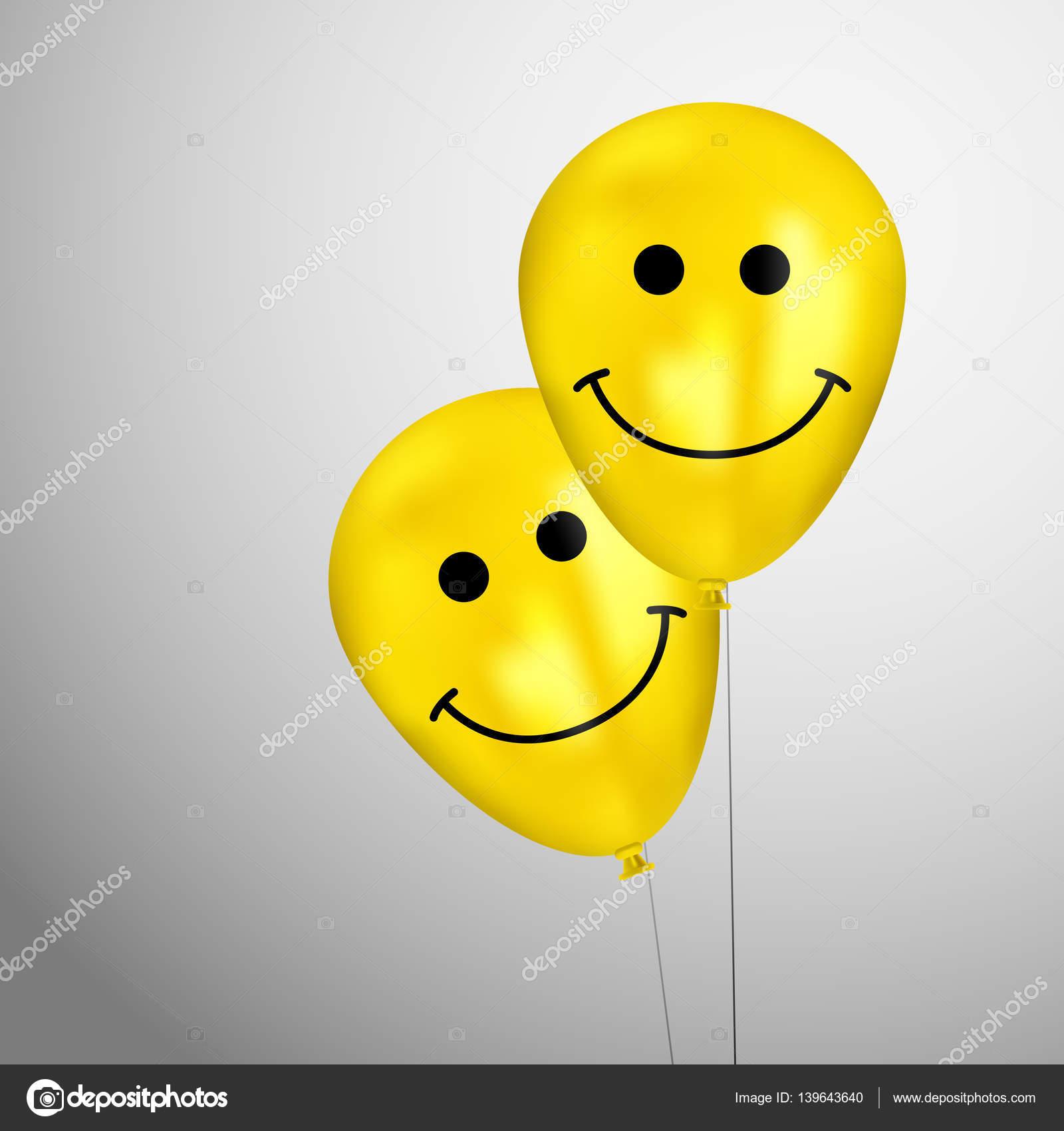 Realistische Gelbe Geburtstag Luftballons Mit Cartoon Smileys