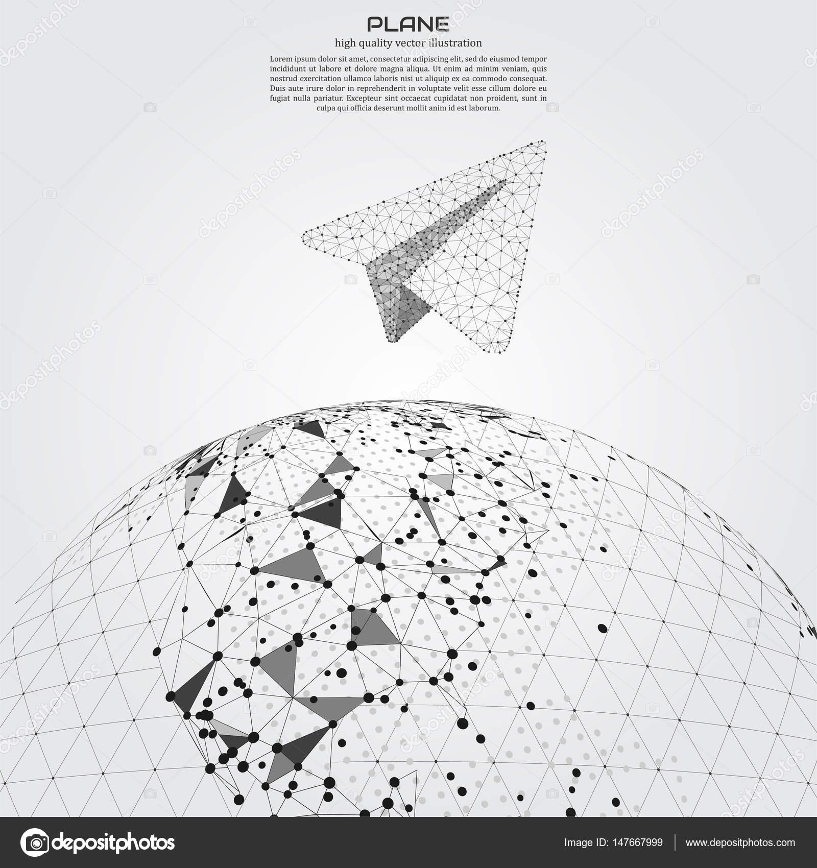 Polygonale Papierflieger. Punkt- und Zusammensetzung. Projekte ...