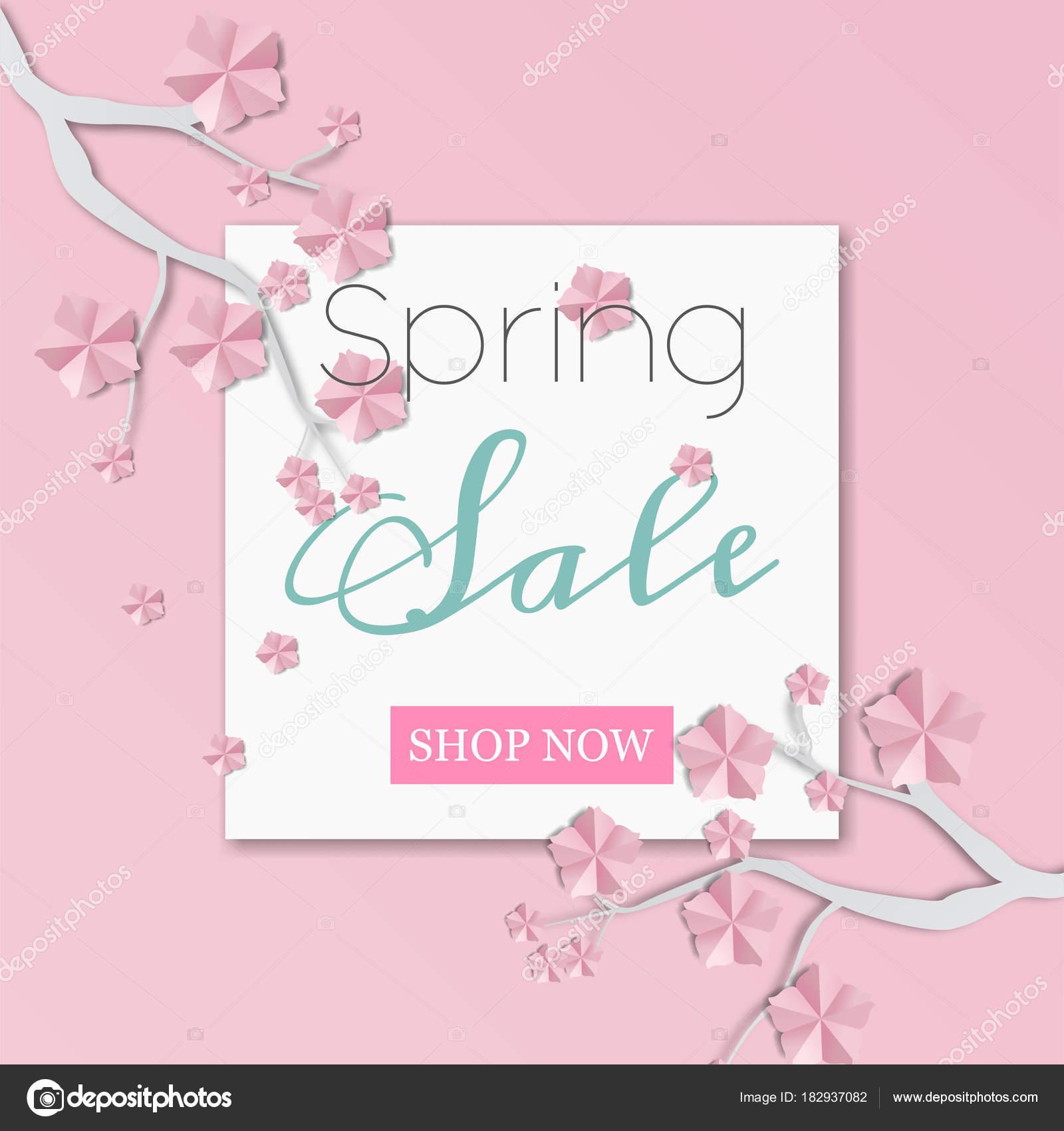 Sakura-Zweig und Blumen. Papier-Art-Stil. Projekte-Vorlage für ...