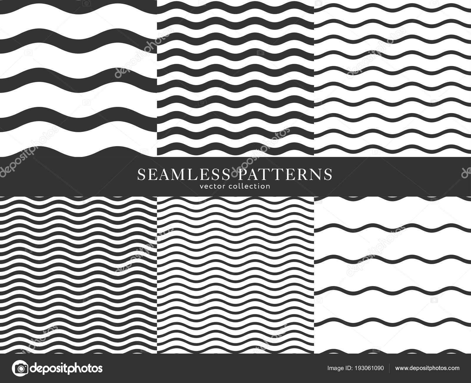c63c08b106d5d4 Aantal golven geometrische naadloze patroon. Ontwerp van de eenvoudige  zwart-witte achtergrond. Sjabloon voor afdrukken, inpakpapier, stoffen,  bestrijkt, ...