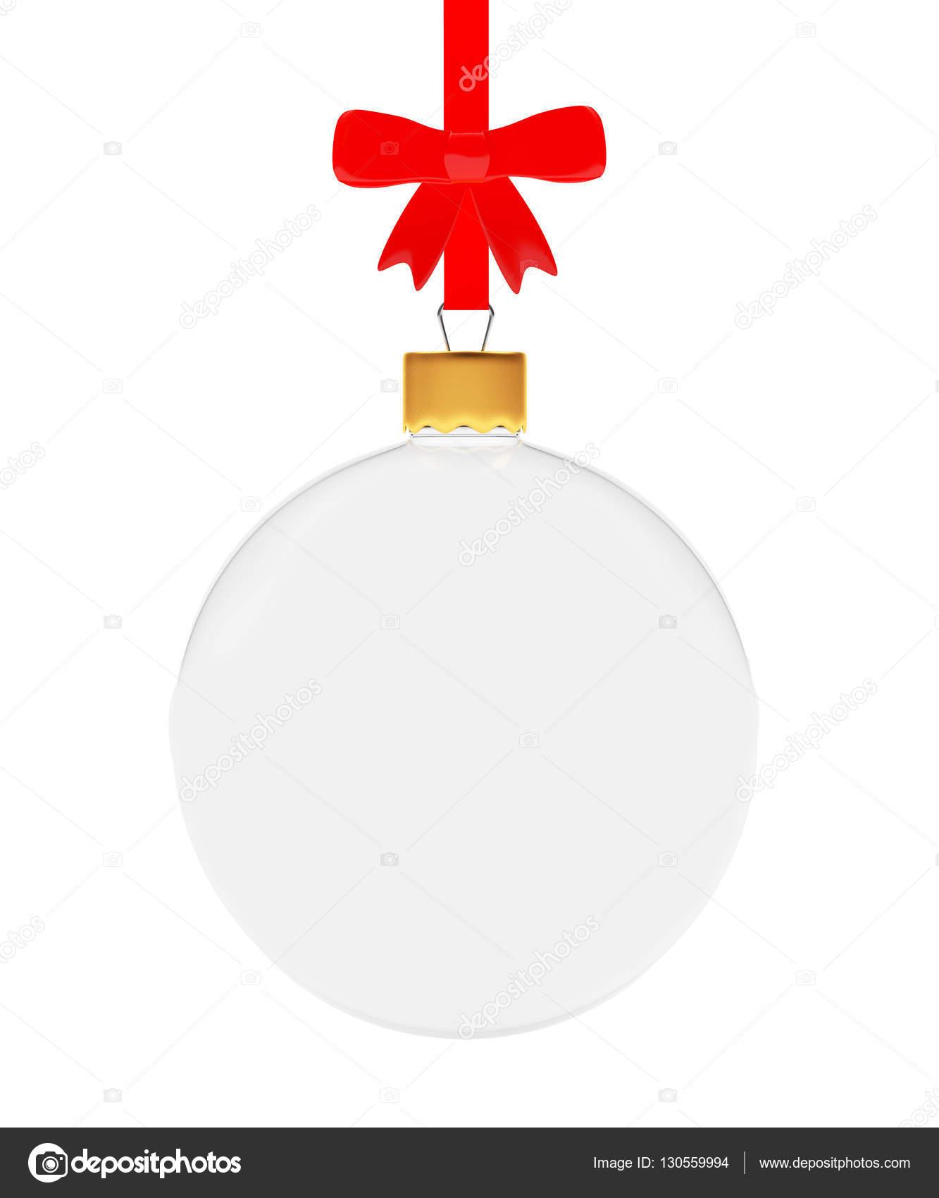 Vidrio transparente bola de navidad colgando en cinta roja for Bolas de navidad baratas