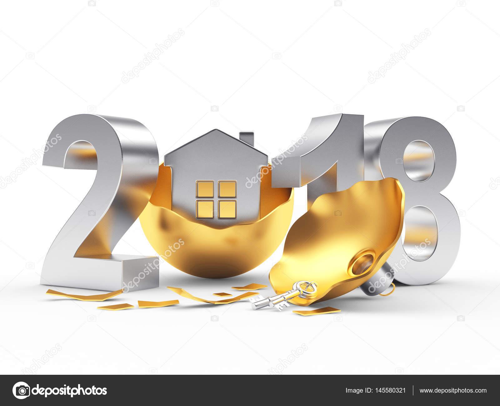 images de noel 2018 Argent an 2018 et cassé or boule de Noël avec la maison  images de noel 2018