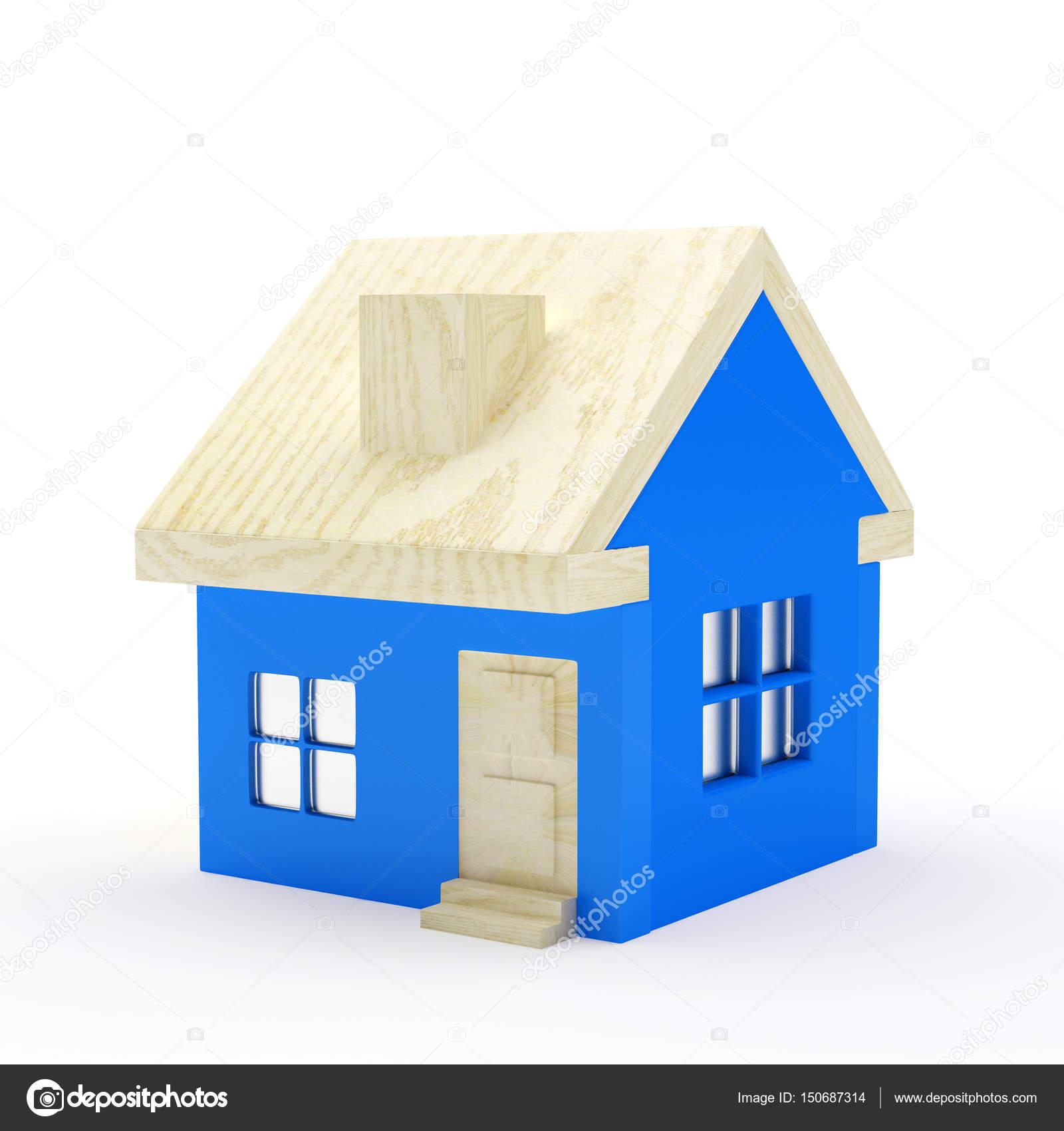 Casa Blu Con Tetto In Legno Su Bianco Foto Stock