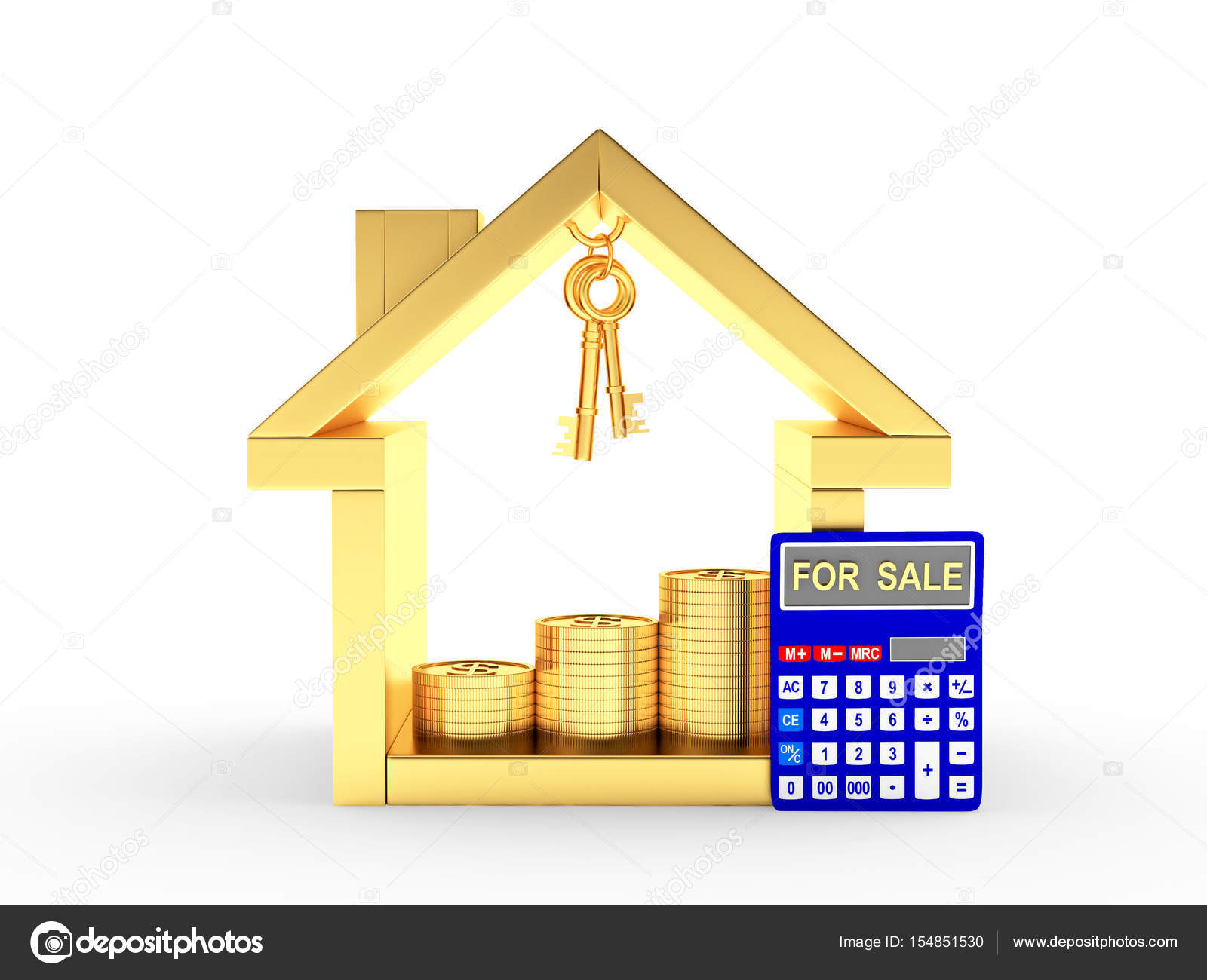 Golden house icon, keys, coins and calculator with the word FOR SALE