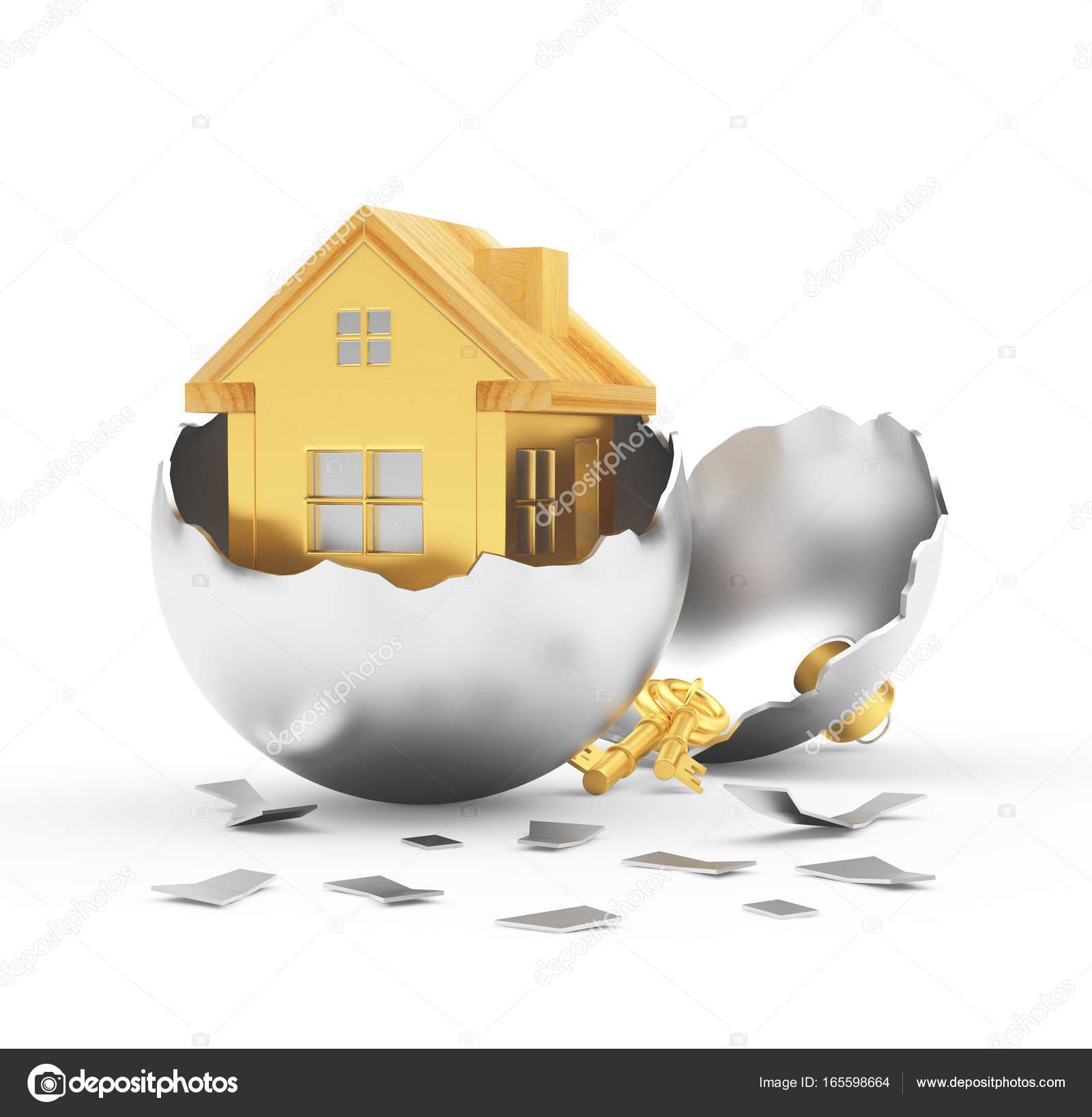Broken silver christmas ball with golden house inside isolated on white background 3d illustration photo by rashevskiy yandex ru
