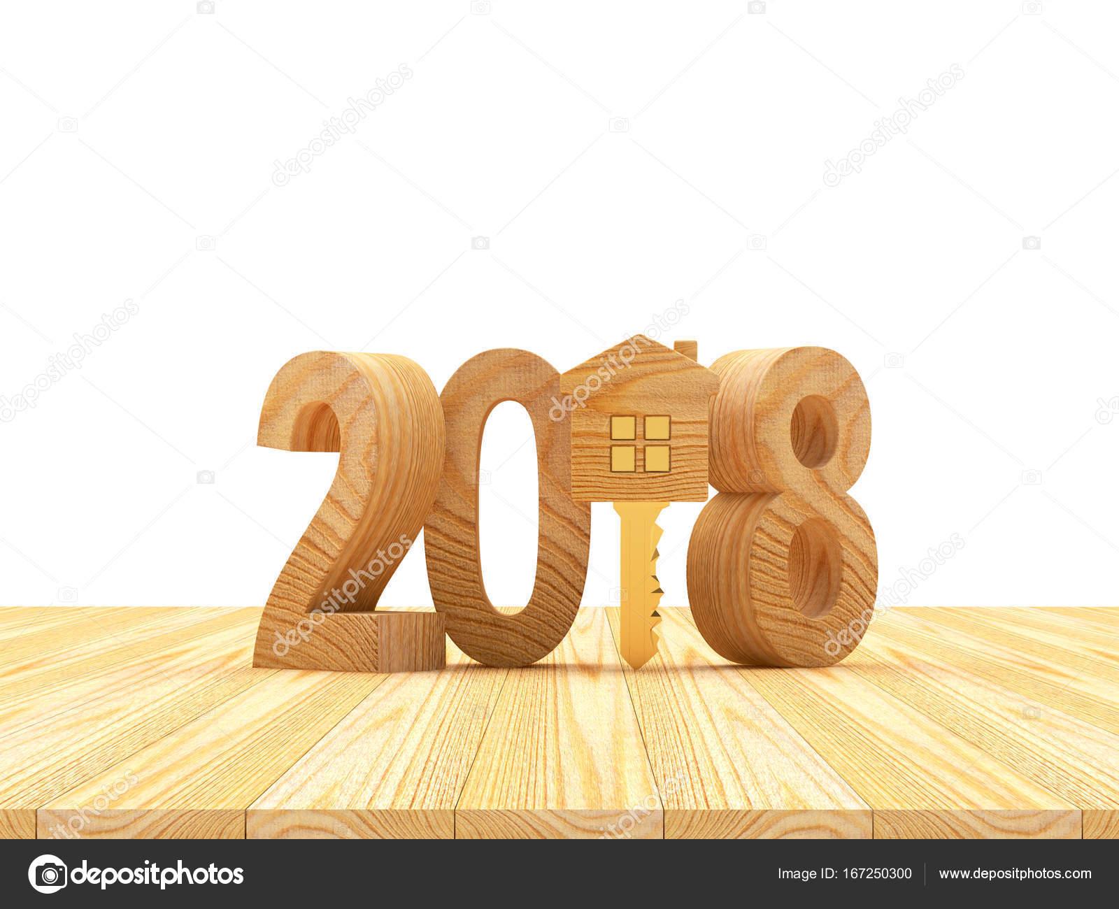 Houten nummers nieuwjaar en sleutel met huis figuur op houten